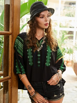 Color Block Stripe Embroideried Womens Blouse