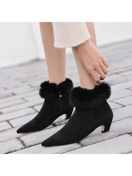 Faux Suede Purfle Pointed Toe Sexy Womens Black Boots
