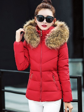 Winter Short Hooded Faux Fur Slim Womens Jacket