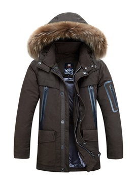 Hooded Thick Patchwork Warm Mens Winter Coat