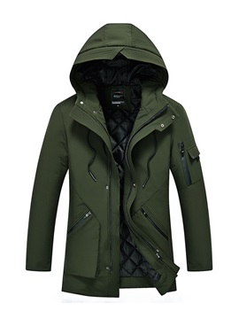 Hooded Patchwork Thick Long Sleeve Mens Winter Coat