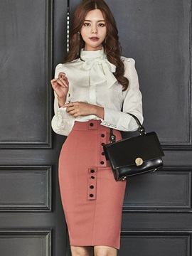 Bodycon Skirt And Bowknot Blouse Womens Elegant Skirt Suit