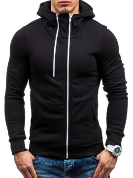 Hooded Zipper Solid Color Mens Cardigan Hoodie