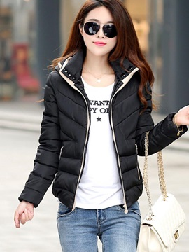 Multi Colors Short Stand Collar Hooded Cotton Womens Jacket