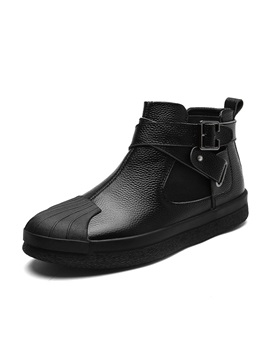 Pu Zipper High Cut Upper Buckle Mens Shoes
