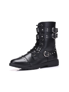 Pu Buckle Rivets Side Zipper Cool Mens Boots