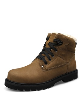 Pu Lace Up Front Plain Warm Mens Snow Boots
