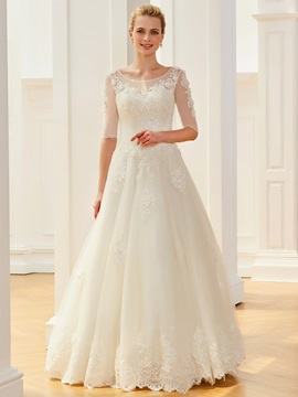 Dramatic Half Sleeves Appliques Sequins Wedding Dress
