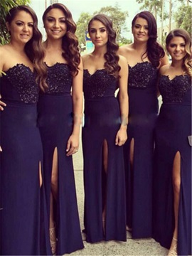 Modern Strapless Lace Top Split Front Bridesmaid Dress