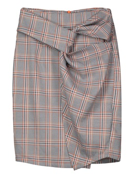 High Waist Plaid Pleated Knee Length Womens Skirt