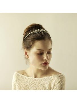 Rhinestone Pearl Silver Wedding Bride Crown Hair Accessories