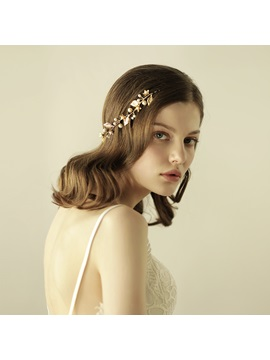 Golden Leaf Pearls Alloy Wedding Bride Hair Accessories