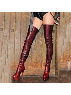 Pu Side Stiletto Burgundy Thigh High Boots