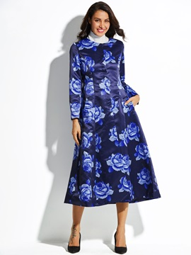 Floral Print Single Breasted Womens Trench Coat