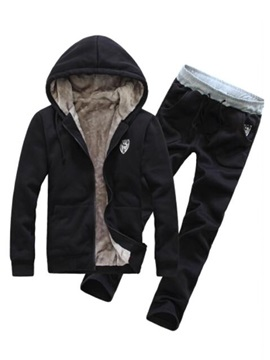 Hooded Zipper Thicken Long Pant Mens Tracksuit Suit