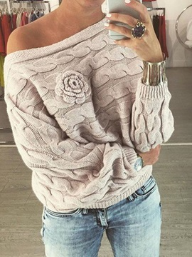 Boat Neck Flower Womens Sweater