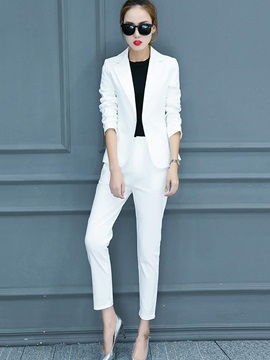 Notched Lapel Plain Blazer And Pants Womens Suit