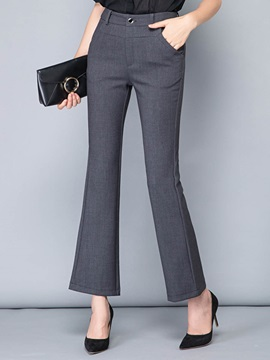High Waist Slim Plain Bell Bottom Womens Elegant Pants