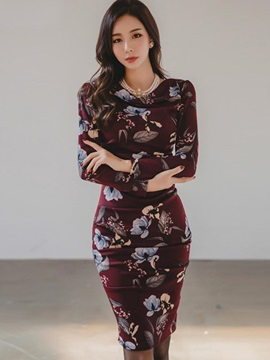 Ladylike Floral Print Long Sleeves Womens Bodycon Dress