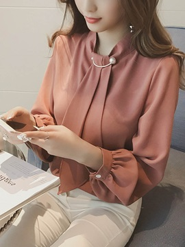 Long Sleeve Pullover Plain Womens Blouse