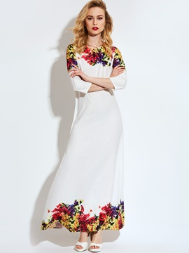 Vogue Round Neck Long Sleeve Maxi Dress