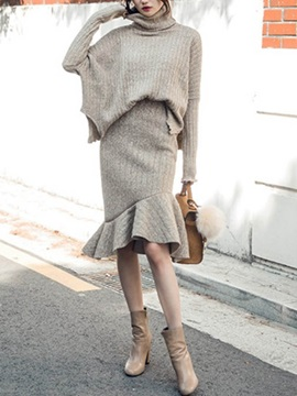 Mid Calf Asymmetric Skirt And Pullover Womens Suit