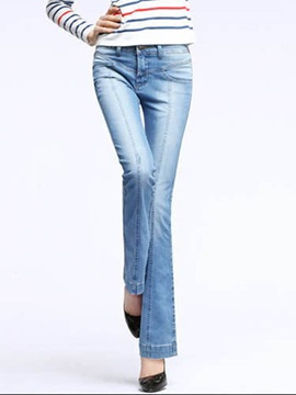 Slim Plain Bell Bottom Womens Jeans