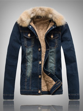 Lapel Faux Fur Collar Slim Single Breasted Mens Denim Coat