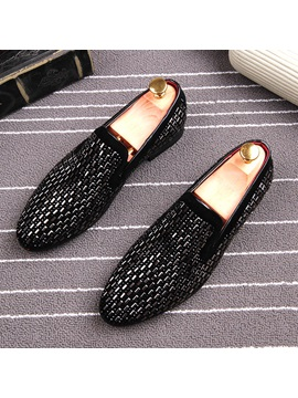 Faux Suede Rivet Patchwork Slip On Mens Shoes
