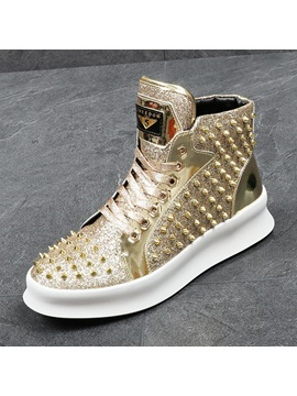 Pu Rivets Sequin Lace Up Mens Shoes