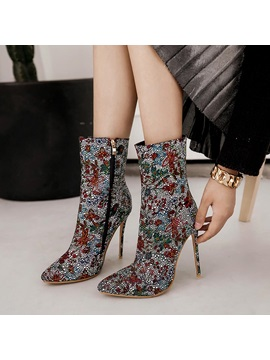 Cloth Pointed Toe Floral Rhinestone Womens Boots