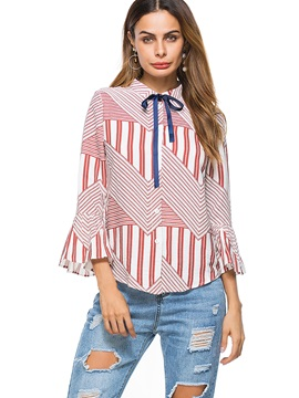 Flare Sleeve Stripe Womens Blouse