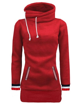 High Neck Strips Patchwork Womens Hoodie