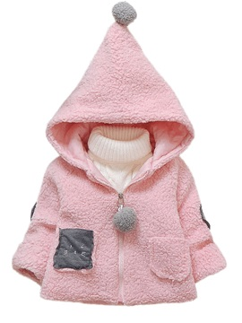 Long Sleeve Hooded Zipper Baby Girls Overcoat