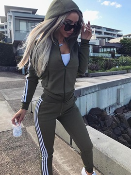 Contrast Color Stripe Zipper Hooded Hoodie And Pants Womens Sport Suit