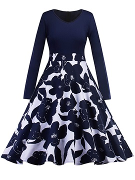 Floral Print Long Sleeve Expansion Womens Skater Dress