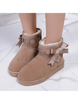 Faux Suede Bow Slip On Womens Snow Boots