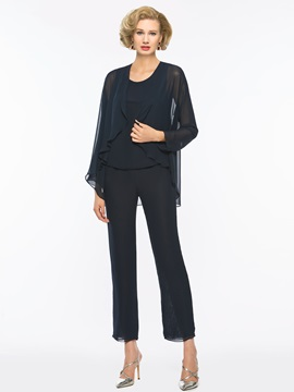 Simple Scoop Neck Mother Of The Bride Jumpsuit With Long Sleeves