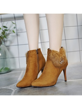 Faux Suede Patchwork Side Zipper Womens Ankle Boots