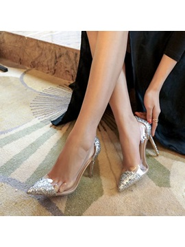 Pu Slip On Patchwork Pointed Toe Sequin Prom Shoes