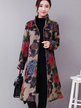 Long Sleeve Print Floral Womens Overcoat