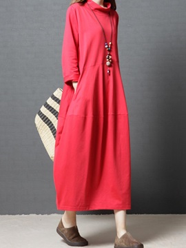 Stand Collar Plain Pocket Womens Casual Dress