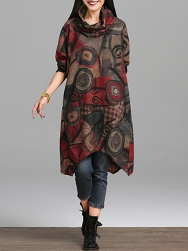 Asymmetrical Print Long Sleeves Scarf Womens Casual Dress