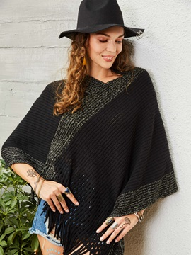 Color Block Patchwork Pullover Womens Cape