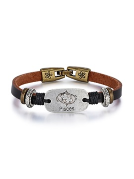 Pisces Alloy Leather Couple Constellation Mens Bracelets