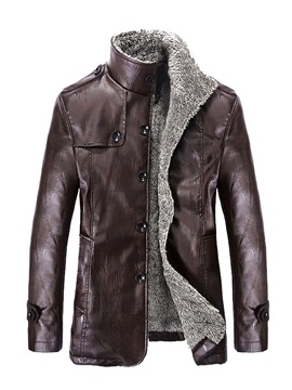 Tidebuy Stand Collar Slim Single Breasted Mens Leather Coat