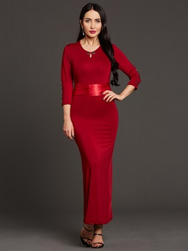 Solid Color Lace Up Hollow Womens Maxi Dress
