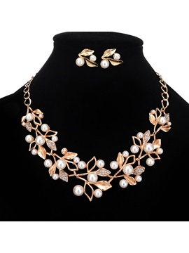Leaf Pearls Alloy Bride Wedding Jewelry Sets