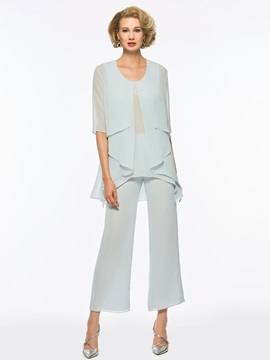 Simple Scoop Neck Mother Of The Bride Jumpsuit With Jacket