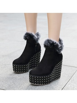 Faux Suede Side Zipper Rivet Wedge Heel Womens Boots